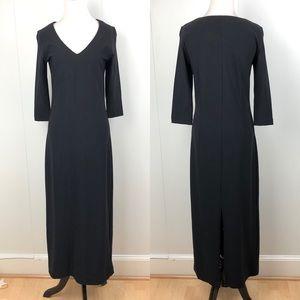 BOSTON PROPER Classic Black Maxi Dress Slit XS